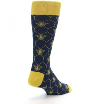 Image of Navy Yellow Honey Bee Men's Dress Socks (side-1-back-21)