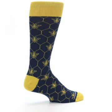 Image of Navy Yellow Honey Bee Men's Dress Socks (side-1-23)