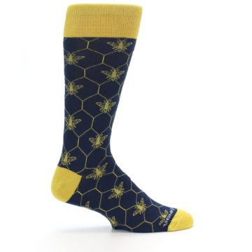 Image of Navy Yellow Honey Bee Men's Dress Socks (side-1-24)