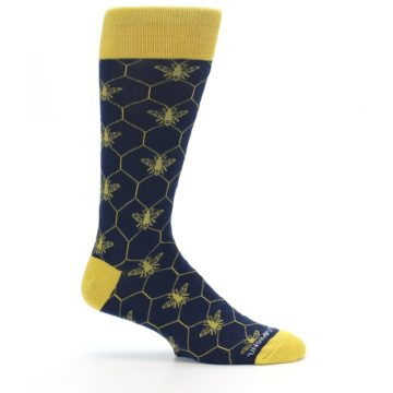 Image of Navy Yellow Honey Bee Men's Dress Socks (side-1-25)