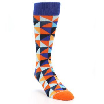 Image of Blue Orange Optical Diamonds Men's Dress Socks (side-1-front-02)