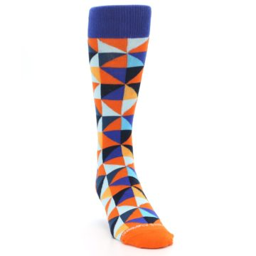 Image of Blue Orange Optical Diamonds Men's Dress Socks (side-1-front-03)