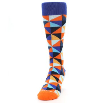Image of Blue Orange Optical Diamonds Men's Dress Socks (side-2-front-06)