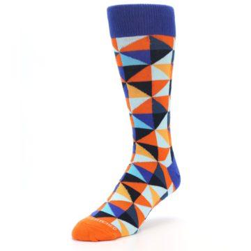 Image of Blue Orange Optical Diamonds Men's Dress Socks (side-2-front-08)