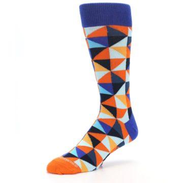 Image of Blue Orange Optical Diamonds Men's Dress Socks (side-2-09)