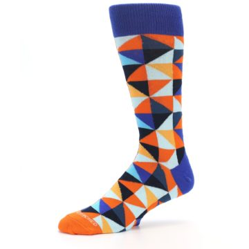 Image of Blue Orange Optical Diamonds Men's Dress Socks (side-2-10)