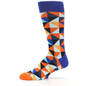 Image of Blue Orange Optical Diamonds Men's Dress Socks (side-2-11)