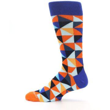 Image of Blue Orange Optical Diamonds Men's Dress Socks (side-2-12)