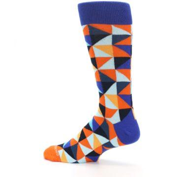 Image of Blue Orange Optical Diamonds Men's Dress Socks (side-2-13)