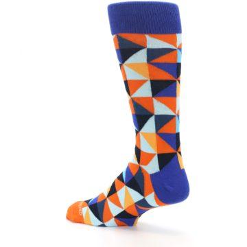 Image of Blue Orange Optical Diamonds Men's Dress Socks (side-2-back-14)
