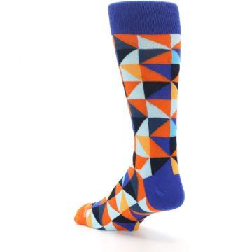 Image of Blue Orange Optical Diamonds Men's Dress Socks (side-2-back-15)
