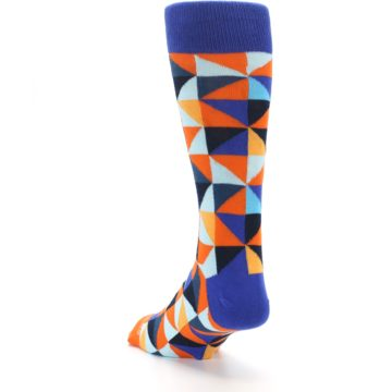 Image of Blue Orange Optical Diamonds Men's Dress Socks (side-2-back-16)