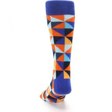 Image of Blue Orange Optical Diamonds Men's Dress Socks (back-17)