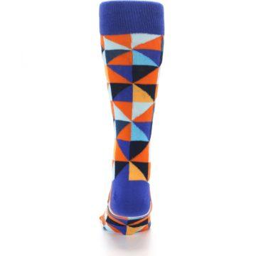 Image of Blue Orange Optical Diamonds Men's Dress Socks (back-18)