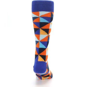 Image of Blue Orange Optical Diamonds Men's Dress Socks (back-19)