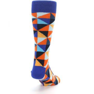Image of Blue Orange Optical Diamonds Men's Dress Socks (side-1-back-20)