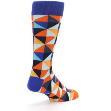Image of Blue Orange Optical Diamonds Men's Dress Socks (side-1-back-22)