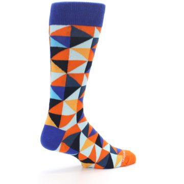 Image of Blue Orange Optical Diamonds Men's Dress Socks (side-1-23)