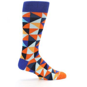 Image of Blue Orange Optical Diamonds Men's Dress Socks (side-1-24)