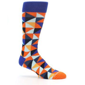 Image of Blue Orange Optical Diamonds Men's Dress Socks (side-1-25)