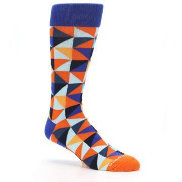 Image of Blue Orange Optical Diamonds Men's Dress Socks (side-1-26)