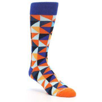 Image of Blue Orange Optical Diamonds Men's Dress Socks (side-1-27)