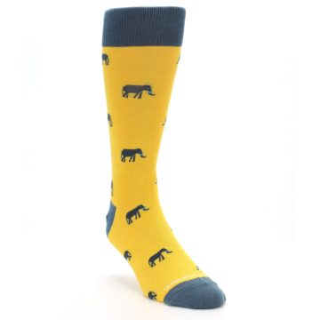 Image of Yellow Grey Elephants Men's Dress Socks (side-1-front-02)