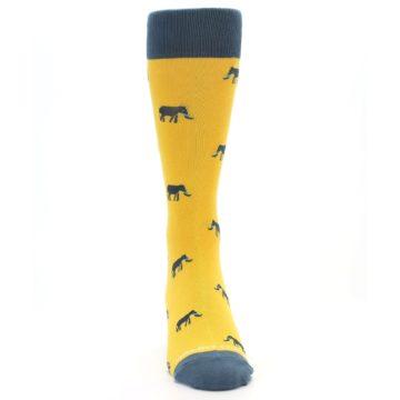 Image of Yellow Grey Elephants Men's Dress Socks (front-04)