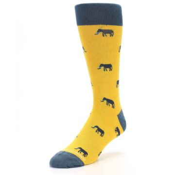 Image of Yellow Grey Elephants Men's Dress Socks (side-2-front-08)