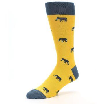 Image of Yellow Grey Elephants Men's Dress Socks (side-2-09)