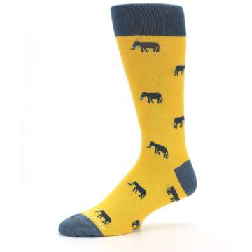 Image of Yellow Grey Elephants Men's Dress Socks (side-2-10)