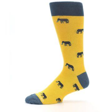 Image of Yellow Grey Elephants Men's Dress Socks (side-2-11)