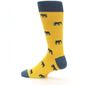 Image of Yellow Grey Elephants Men's Dress Socks (side-2-13)