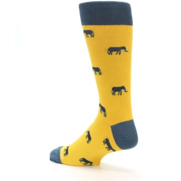 Image of Yellow Grey Elephants Men's Dress Socks (side-2-back-14)