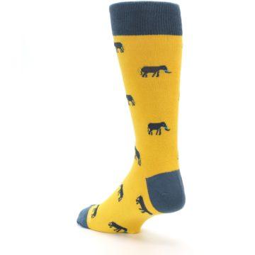 Image of Yellow Grey Elephants Men's Dress Socks (side-2-back-15)