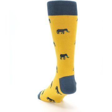 Image of Yellow Grey Elephants Men's Dress Socks (side-2-back-16)