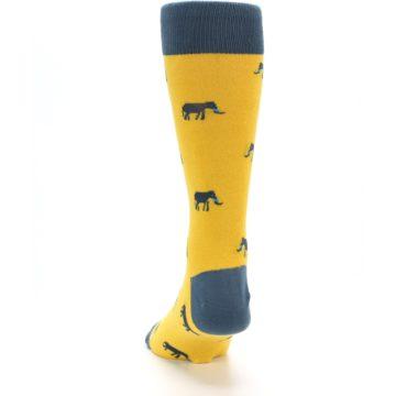 Image of Yellow Grey Elephants Men's Dress Socks (back-17)