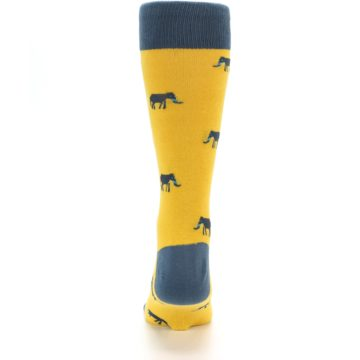 Image of Yellow Grey Elephants Men's Dress Socks (back-18)