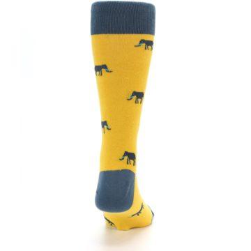 Image of Yellow Grey Elephants Men's Dress Socks (back-19)