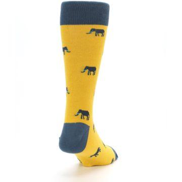 Image of Yellow Grey Elephants Men's Dress Socks (side-1-back-20)