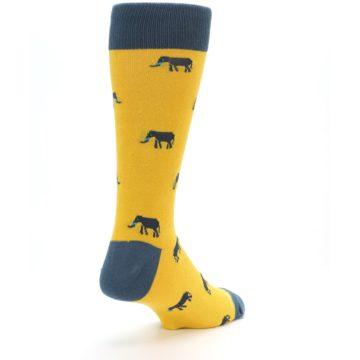 Image of Yellow Grey Elephants Men's Dress Socks (side-1-back-21)