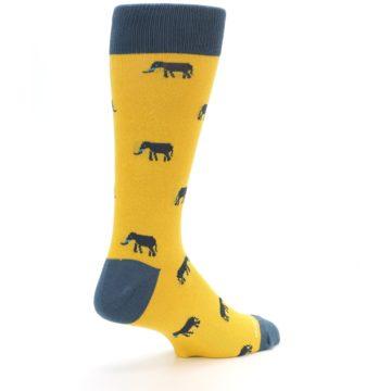 Image of Yellow Grey Elephants Men's Dress Socks (side-1-back-22)