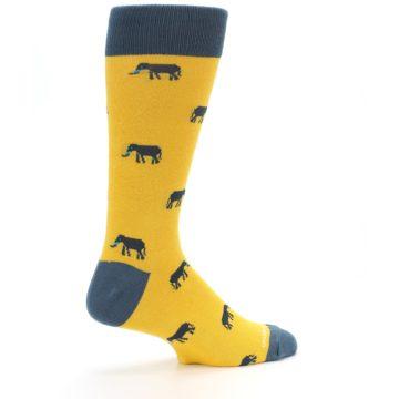 Image of Yellow Grey Elephants Men's Dress Socks (side-1-23)