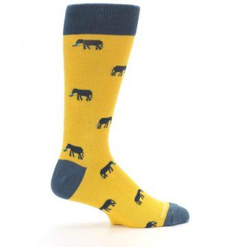 Image of Yellow Grey Elephants Men's Dress Socks (side-1-24)