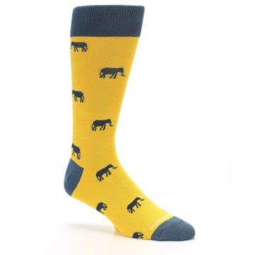 Image of Yellow Grey Elephants Men's Dress Socks (side-1-26)
