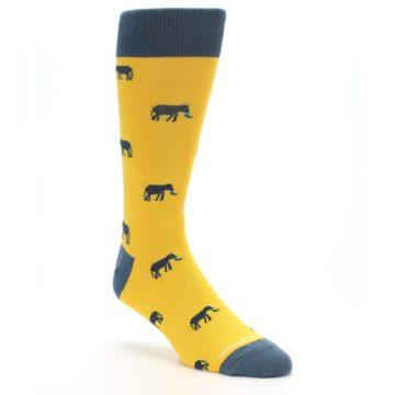 Image of Yellow Grey Elephants Men's Dress Socks (side-1-27)