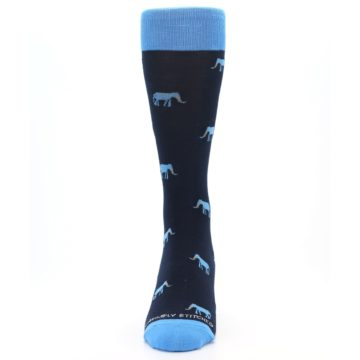 Image of Navy Blue Elephants Men's Dress Socks (front-05)