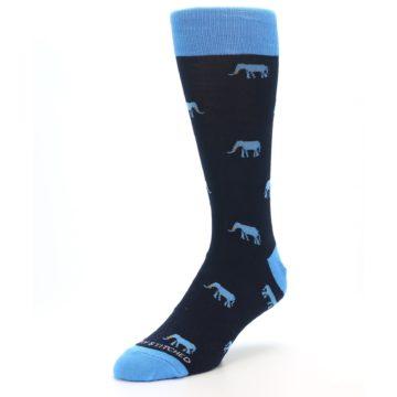 Image of Navy Blue Elephants Men's Dress Socks (side-2-front-08)