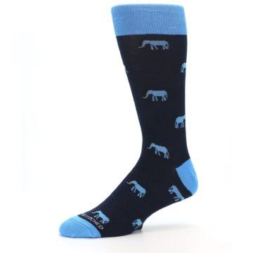 Image of Navy Blue Elephants Men's Dress Socks (side-2-10)