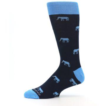 Image of Navy Blue Elephants Men's Dress Socks (side-2-11)